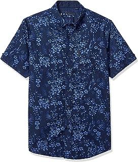 Ben Sherman Men's SS FLRL Blue Shirt, Heather Navy, XL