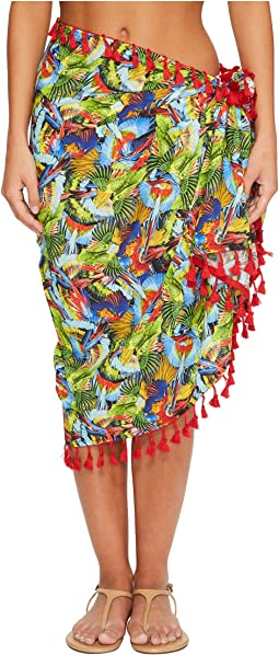 BSS1806 Woven Bird Print Sarong Cover-Up
