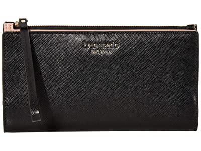 Kate Spade New York Spencer Continental Wristlet (Black) Handbags