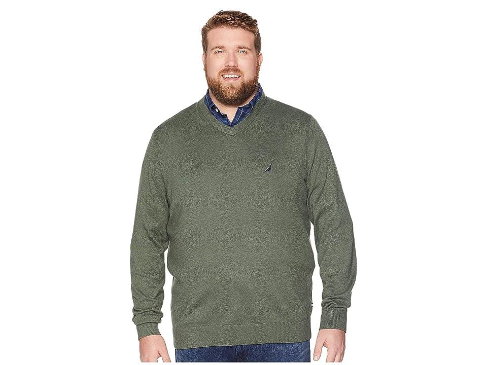 Nautica Big & Tall Big Tall Jersey V-Neck Sweater (Pine Forest) Men
