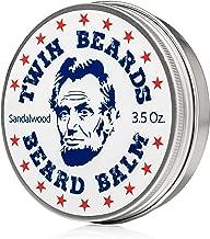 Twin Beards Sandalwood Beard Balm | Conditions & Strengthens for a Softer & Thicker Beard | Cocoa Butter, Bees Wax & Jojoba Oil | 3.5 oz