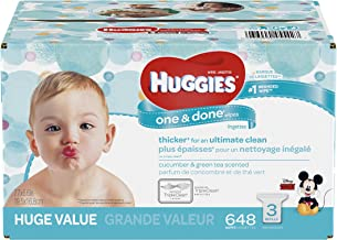 HUGGIES One and Done Refreshing Baby Wipes, 648 Count