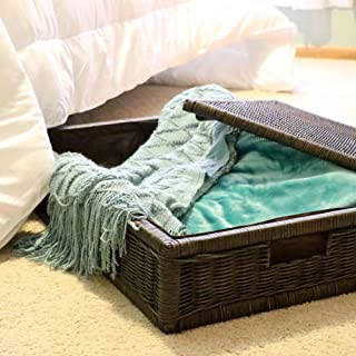 The Basket Lady Underbed Wicker Storage Box, Extra Large, 31 in L x 21 in W x 11 in H, Antique Walnut Brown