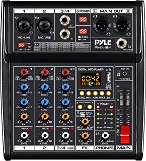 Professional DJ Audio Mixer Controller - 4-Channel DJ Controller Sound Mixer w/ DSP 16 Preset Effects, USB Interface, 2 XL...