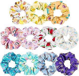 WATINC 12Pcs Kawaii Colorful Hair Scrunchies Rainbow Mermaid Printing Scrunchie Cute Animal Emoji Hair Scrunchy Ponytail H...