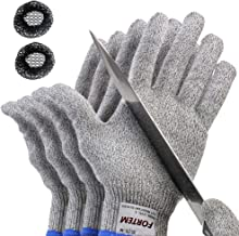 FORTEM Cut Resistant Gloves, 4 Gloves, Level 5 Protection, Food Grade, EN388 Certified (Small)