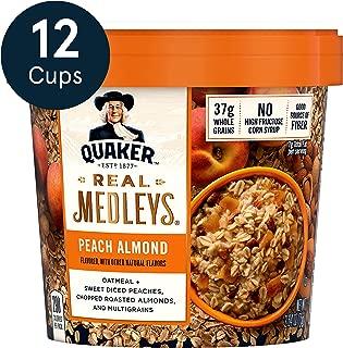 Quaker Real Medleys Oatmeal+, Peach Almond, Oatmeal Cups, 12 Count