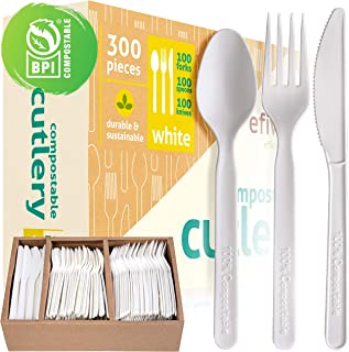 Disposable Cutlery Set - BPI Certified Compostable And Disposable - Eco Friendly Alternative to Silverware And Traditional Plastic Utensils - Pack of 300 Inc Knives, Forks and Spoons And Storage Tray