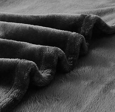 "Exclusivo Mezcla Large Flannel Fleece Velvet Plush Throw Blanket – 50"" x 70"" (Grey)"