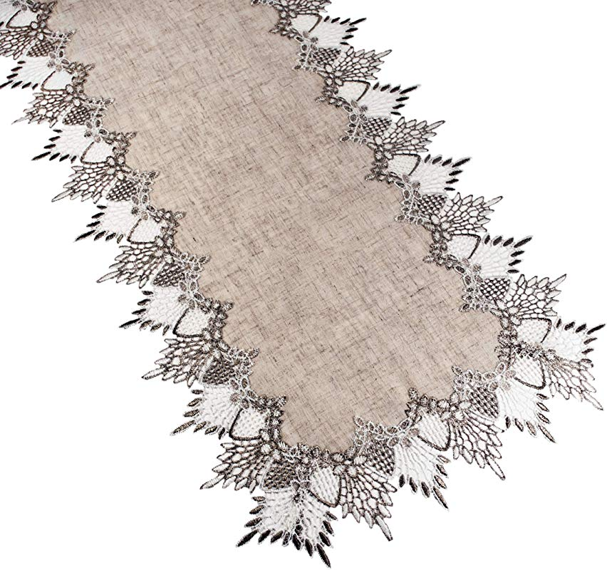 Linens Art And Things Lace Runner 16 X 54 Inches Neutral Earth Tones Table Runner Dresser Scarf Coffee Table Runner