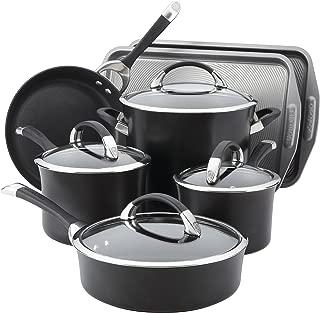 Circulon 82983 Symmetry Hard Anodized Nonstick Cookware Pots and Pans Set, 11-Piece w/Bakeware, Black