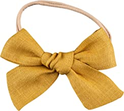 Handmade Linen Fabric Bows For Girls, For Newborns Through Toddlers (1 Size Fits All) - Prima Bows