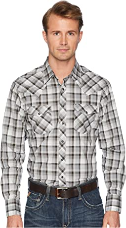Retro Long Sleeve Two-Pocket Snap Plaid