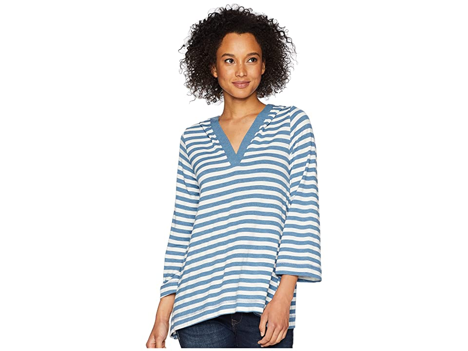 Nally & Millie French Terry Striped Hoodie (Ocean Blue) Women