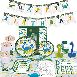 Dinosaur Party Supplies Set – Dinosaur Birthday Party Supplies Includes Dinosaur Plates - Dinosaur Cupcake Toppers & Wrappers - Dinosaur Cutlery – Dinosaur Birthday Banner - Dinosaur Cups – Dinosaur Table Cover - Dinosaur Invitations – 16 Guests