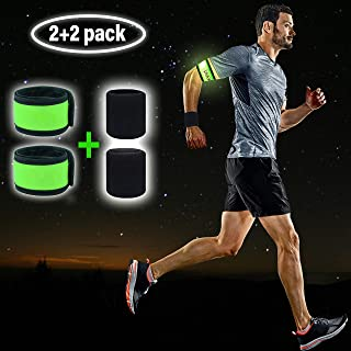LED Armband Runner Lights 2-Pack – Glow-in-The-Dark Running Lights for Runners, Joggers, Walkers & Cyclists – Light Up LED Bracelet Reflective Running Gear Slap Band for Safety + 2 Bonus Sweat Bands