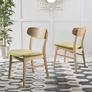 Christopher Knight Home Lucious Fabric/Oak Finish Dining Chair (Set of 2), Green Tea