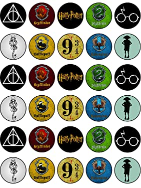 30 x Edible Cupcake Toppers – Harry P Themed 2 Collection of Edible Cake Decorations   Uncut Edible on Wafer Sheet