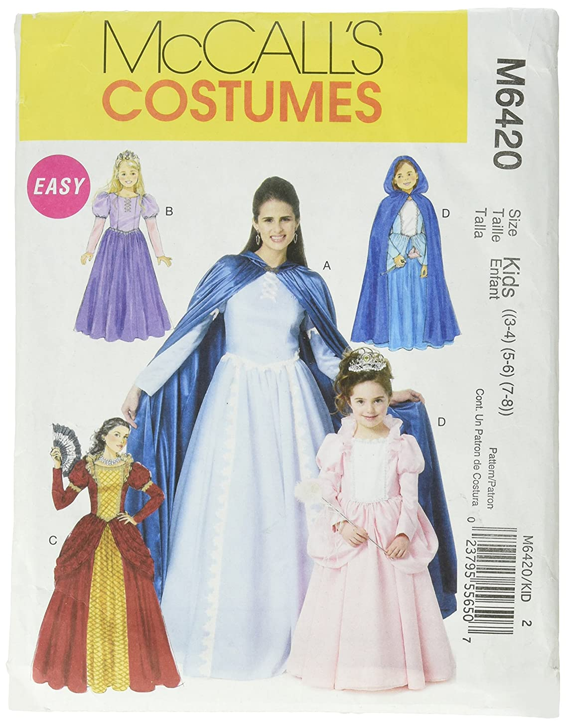 McCall's M6817 Girl's Fairy Tale Princess Dress Halloween Costume Sewing Pattern, Sizes 3-8
