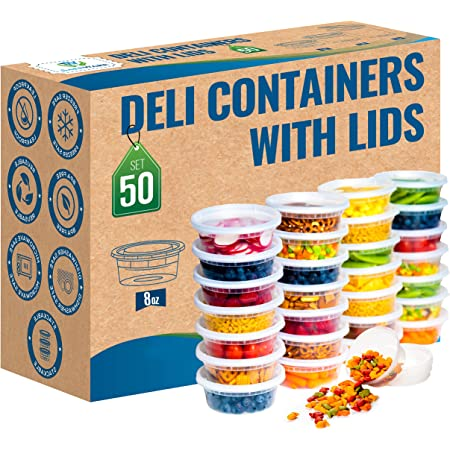 Safeware 8oz [50 Sets] Deli Plastic Food Storage Containers with Airtight Lids - Great for Slime, Soup, Portion Control and Meal Prep | Microwave | Dishwasher | Freezer Safe | Leakproof | Stackable