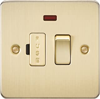 Knightsbridge FP6300NBB Brushed Brass FPAV6300NBB Flat Plate 13A Switched Fused Spur Unit with Neon, 230 V