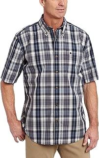 Men's Bellevue Plaid Short Sleeve Shirt Button Front Poplin