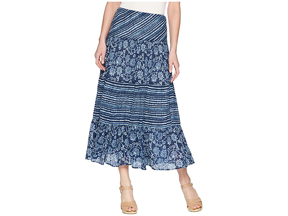 CHAPS Tiered Maxi Skirt (Blue Multi) Women