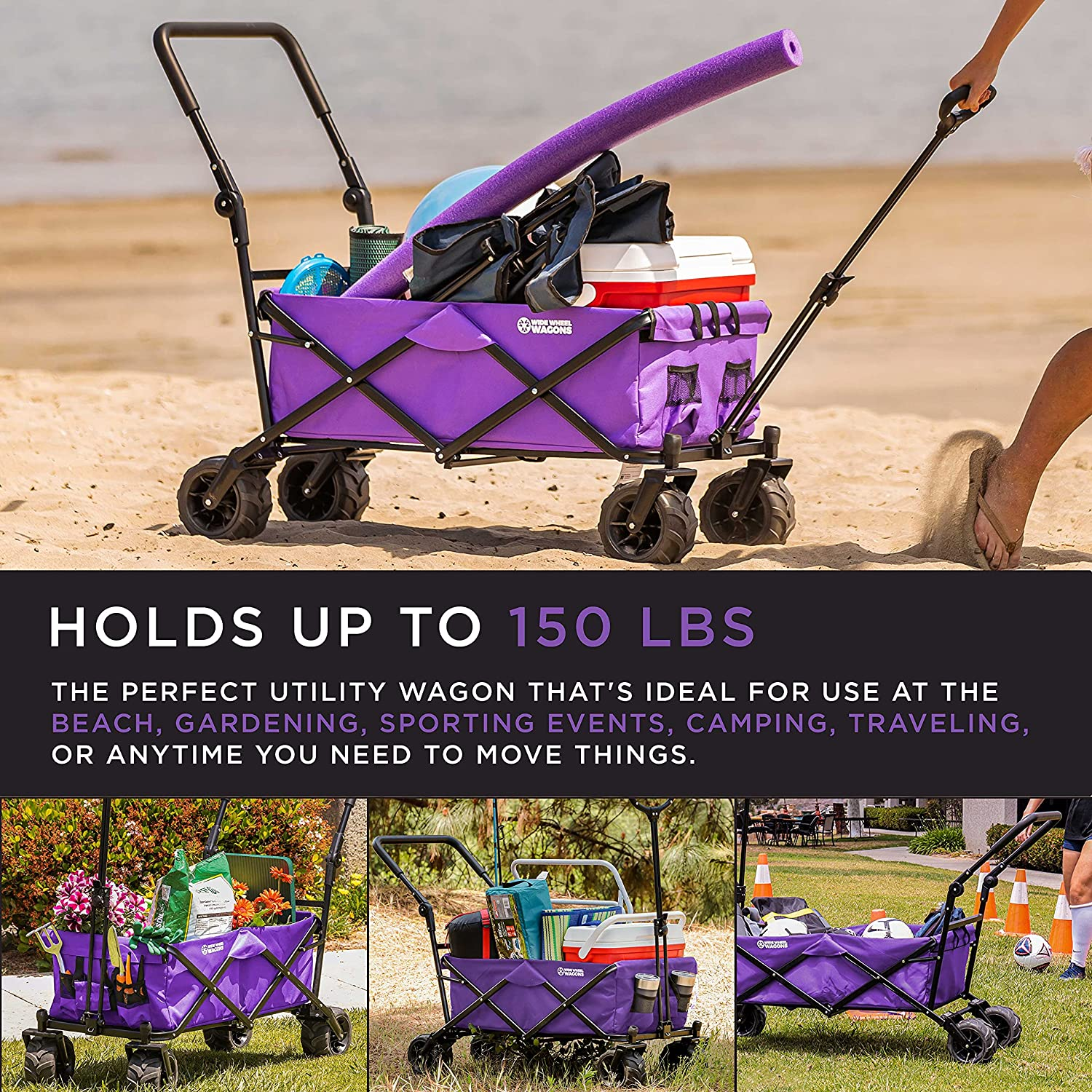 Purple Wide Wheel Wagon All-Terrain Folding Collapsible Utility Wagon with Push Bar - Portable Rolling Heavy Duty 150 Lbs Capacity Canvas Fabric Cart Buggy - Beach, Garden, Sporting Events, Park : Patio, Lawn & Garden