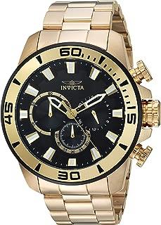Invicta Pro Diver 22590 Reloj de cuarzo para hombre con correa de acero inoxidable, dorado, 24 (modelo: 22590)