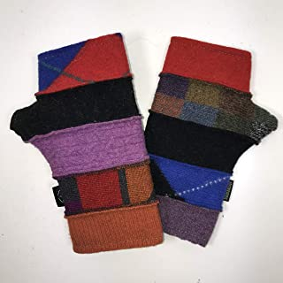 product image for Baabaazuzu Red, Blue, Orange & Purple Women's Upcycled Wool Fingerless Gloves (Made in USA, Fleece-Lined)