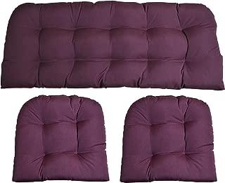 RSH Decor Sunbrella Canvas Iris Purple 3 Piece Wicker Cushion Set - Indoor/Outdoor Wicker Loveseat Settee & 2 Matching Chair Cushions