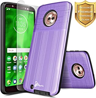 Moto G6 Case with [Tempered Glass Screen Protector], NageBee Brushed [Heavy Duty] Armor Defender Dual Layer Shock Proof Hybrid Case for Motorola Moto G 6th Generation (Purple)