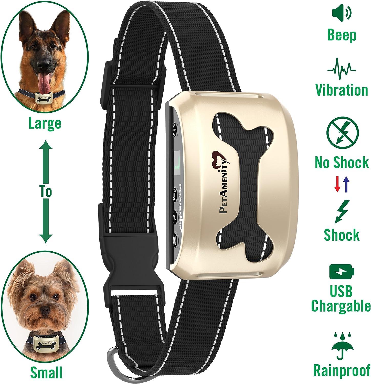 PetAmenity No Barking Control Anti Bark Collar [2019 Ultra], Rechargeable Rainproof Reflective, 7 Sensitivity, Beep Vibration Safe Shock for Large, Medium, Small Dogs (gold, Bone)