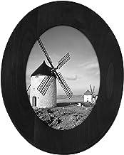 Malden International Designs Classic Oval Black Wood Picture Frame, 5x7, Black