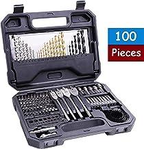 Juego de Brocas, HERZO 100 piezas brocas ncluye brocas para mampostería, brocas para madera, brocas helicoidales de titanio HSS, brocas para destornillador, almacenamiento en una caja