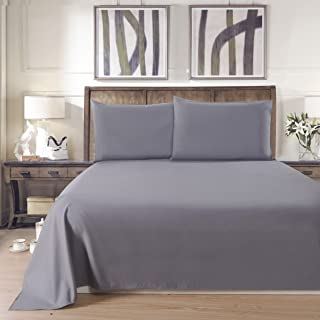 Lullabi Linen 100% Brushed Soft Microfiber Bed Sheet Set, Fitted & Flat Sheet & Pillowcases, Cozy Comfortable, Wrinkle, Fade, Stain Resistant, Deep Pockets (Queen, Gray)