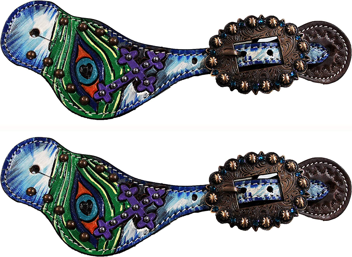 CHALLENGER Horse Western Riding Cowboy Boots Leather Spur Straps Tack 74144