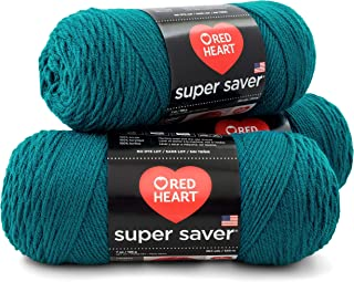 RED HEART E300PK.0656 Super Saver 3-Pack Yarn, Real Teal 3 Pack