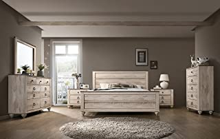 Roundhill Furniture Imerland Contemporary White Wash Finish Bedroom Set (6-Piece),