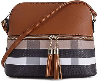 Lightweight Medium Dome Crossbody Bag with Tassel   Plaid Pattern