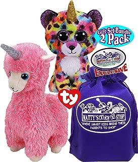 Ty Beanie Fairytale Unicorns Giselle (Rainbow Leopard) Beanie Boo & Lana (Pink Llama) Beanie Baby Gift Set Bundle with Bonus Matty's Toy Stop Storage Bag - 2 Pack