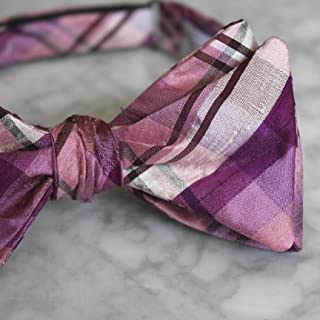 22892b372472 Pink and Purple Berry Plaid Dupioni Silk Bow Tie