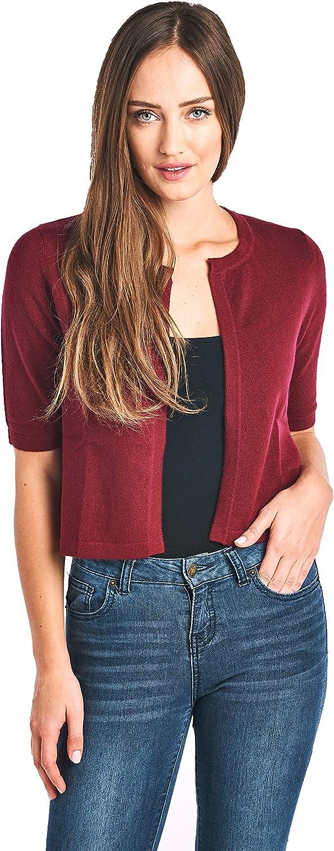 Mariyaab Women's 100% Cashmere Short Sleeve Cropped Open Cardigan Sweater (17617, Burgundy, L)