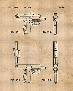 Original Uzi Auto Gun Patent Poster Prints, Set of 4 (8x10) Unframed Photos, Great Wall Art Decor Gifts Under 20 for Home, Office, Garage, Shop, Man Cave, Student, Teacher, Cowboys, NRA & Movies Fan
