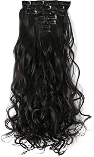 """OneDor 20"""" Curly Full Head Clip in Synthetic Hair Extensions 7pcs 140g (2#-Darkest brown)"""