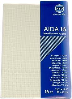 RTO Aida 16 Count Stoff, 100% Baumwolle, elfenbeinfarben, 39 x 45 cm