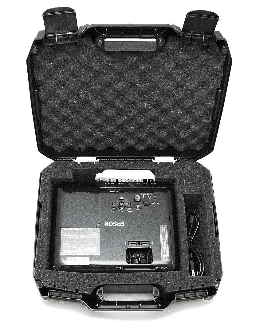 CASEMATIX Projector Travel Case Designed for Epson VS250 SVGA, VS350 XGA, VS355 WXGA Projectors, HDMI Cable and Remote - Custom Foam Compartment and Hard Shell Protection ul7069173