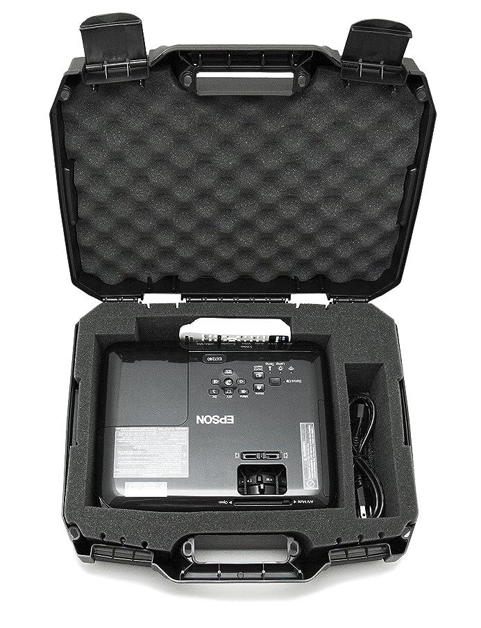 CASEMATIX Projector Travel Case Designed for Epson VS250 SVGA, VS350 XGA, VS355 WXGA Projectors, HDMI Cable and Remote - Custom Foam Compartment and Hard Shell Protection