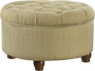 HomePop Large Button Tufted Round Storage Ottoman, Tan and Cream Tweed