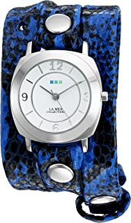 La Mer Collections Women's 'La Mer Collections Women's Electric Blue Snake Silver Odyssey Wrap Watch' Quartz Two Tone Leather Casual Watch (Model: LMODY2001)